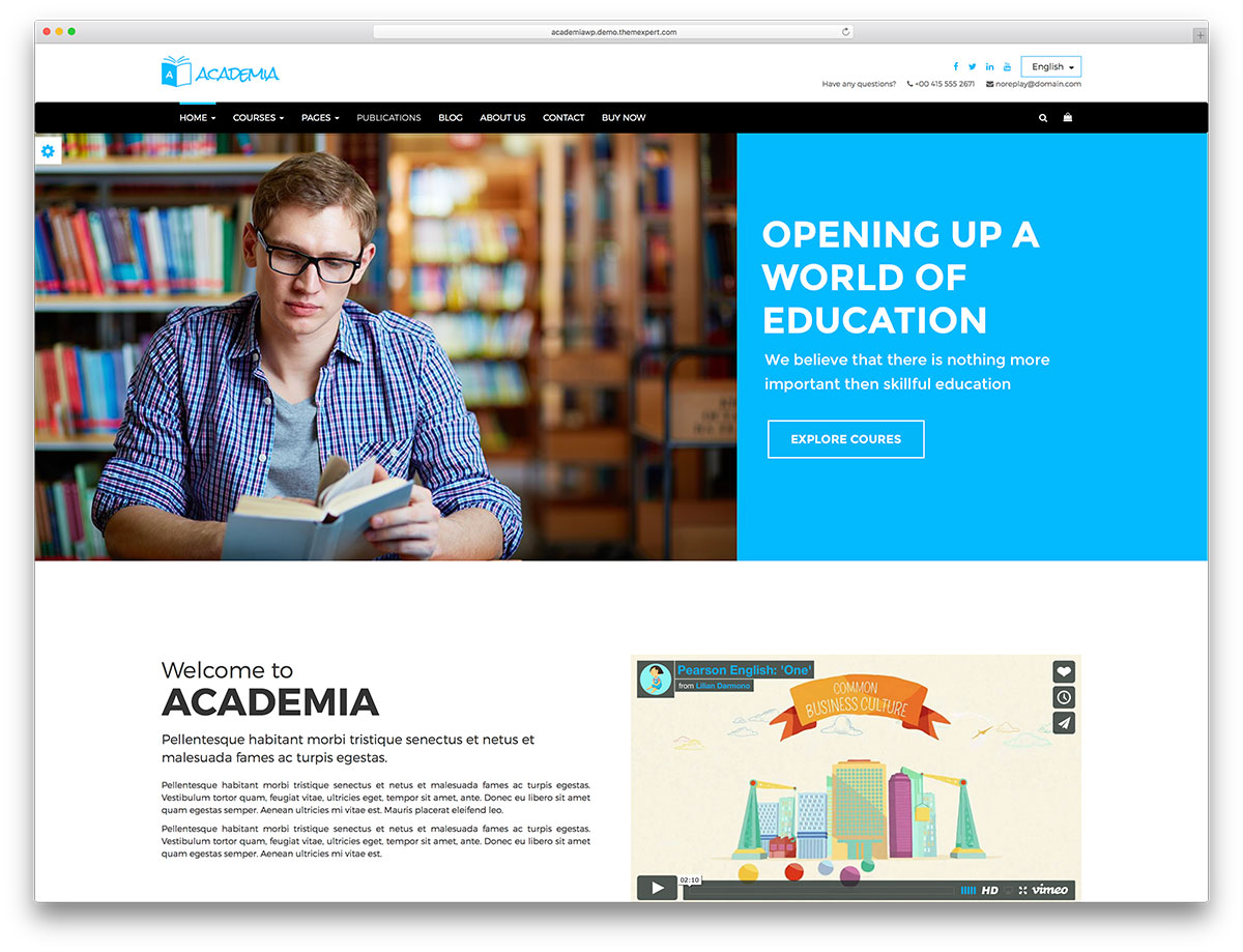 academia classic education website template web hosting blog by