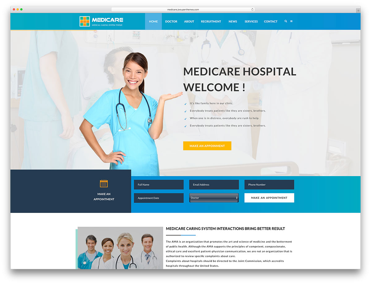 medicare simple medical website template web hosting blog by milesweb