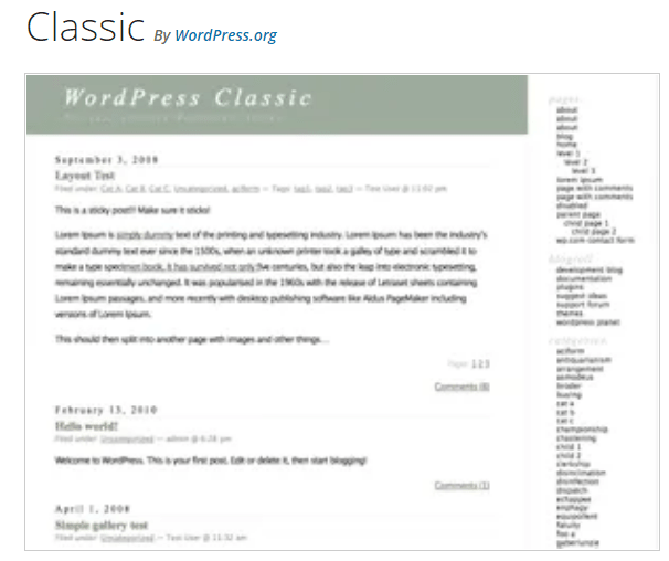 Classic - WordPress theme WordPress org