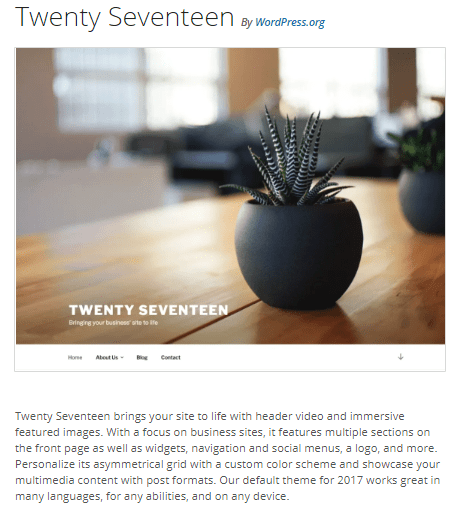 Twenty Seventeen - WordPress theme WordPress org