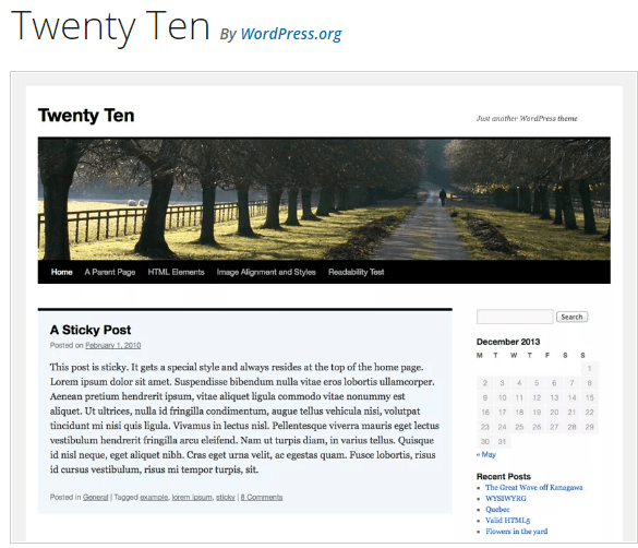 Twenty Ten - WordPress theme WordPress org