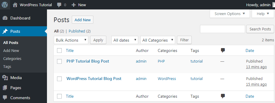 wordpress posts in database