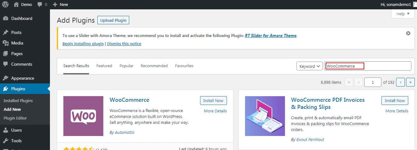 Install WooCommerce 1