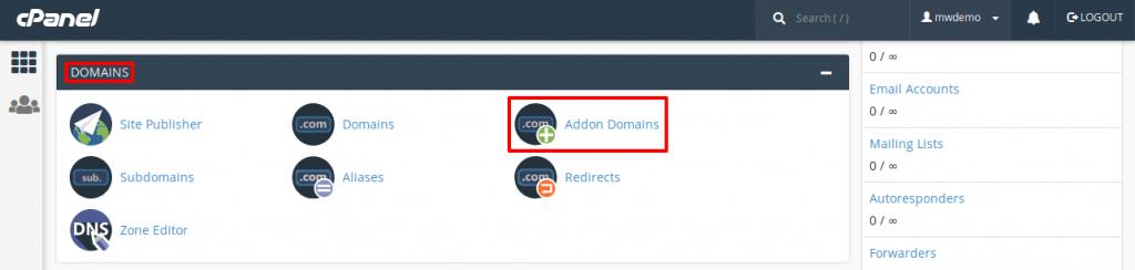 cPanel Addon Domain