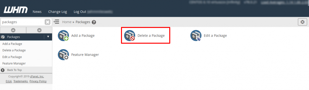 WHM Delete Packages