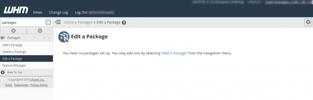 WHM Edit a Package