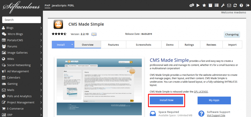 CMS Made Simple Install Now