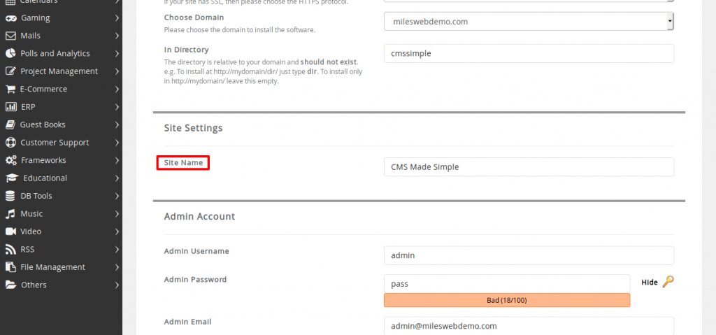 CMS Made Simple Site Settings
