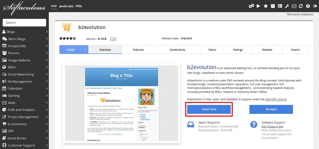 Softaculous b2evolution Install Now