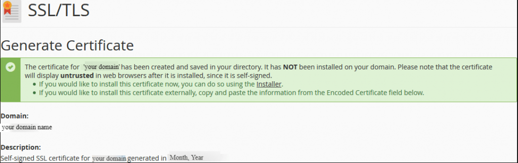 cPanel-Self-Signed certificate